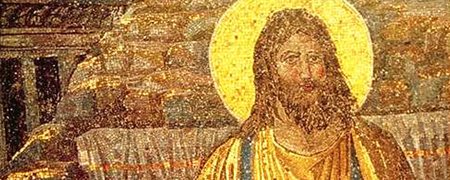 Detail of apse mosaic in early C5th basilica of St Pudenziana, Rome